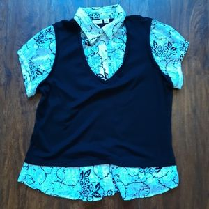 Cato Black and White Floral Vested Top